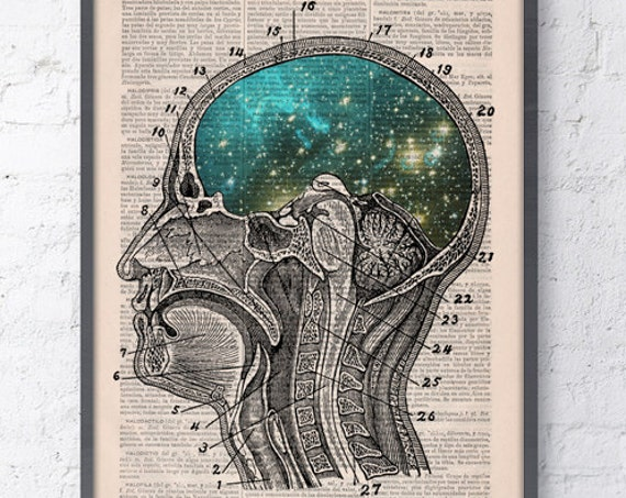 Christmas gifts for her Print Cosmic Brain collage Printed on Vintage Dictionary Book page. Wall decor art,decor, Galaxy print art SKA112