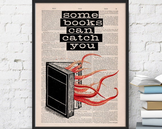 Some Books can catch you, art print,quote art dictionary art print typography media altered book page print, TYQ036