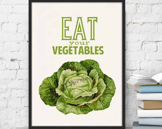 Eat your vegetables Giclee Print on Vintage book page the best choice for gifts  TYQ037b