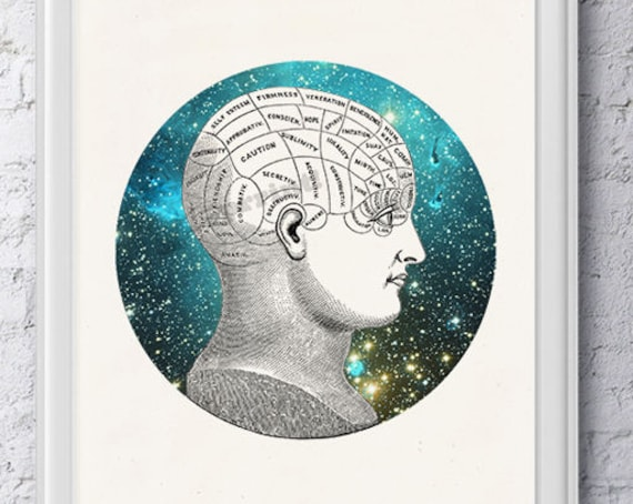 Christmas gifts for mom Phrenology Brain Study galactic collage, Anatomy art, Anatomical art, Wall art decor  , Gift for doctor SKA226WA4