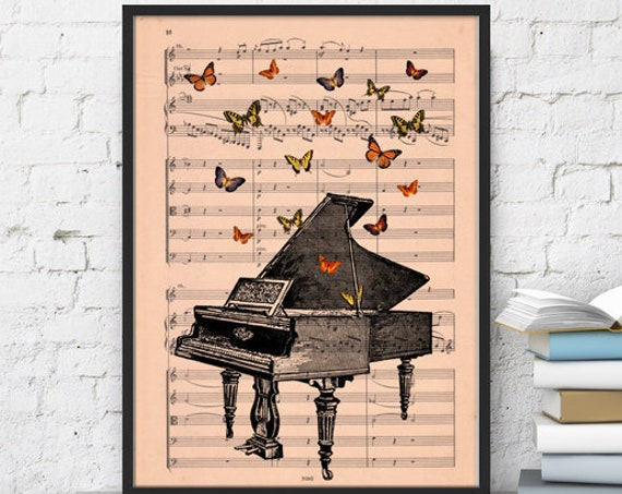 Piano with butterflies Art print on music sheet best choice for Christmas gifts BFL086MSM