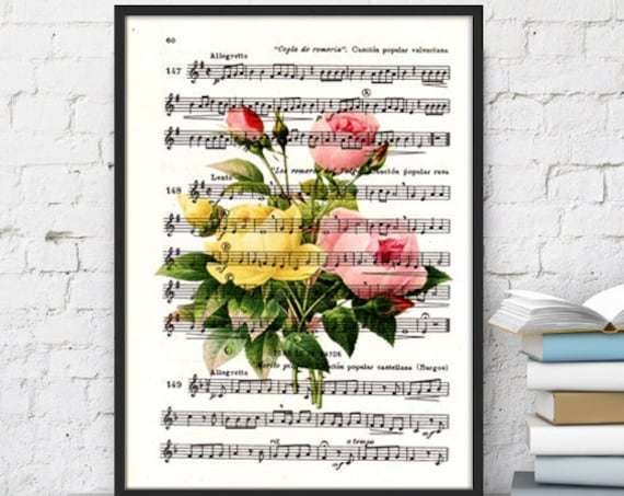 Christmas gifts for mom Roses bouquet over music sheet, Wall art print, Home decor art print, Vintage roses bouquet BFL044MS