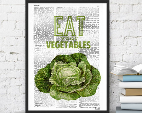 Eat your vegetables sign. Kitchen wall decor, Giclee art, Dictionary art, Veggies print, Wall art TYQ037