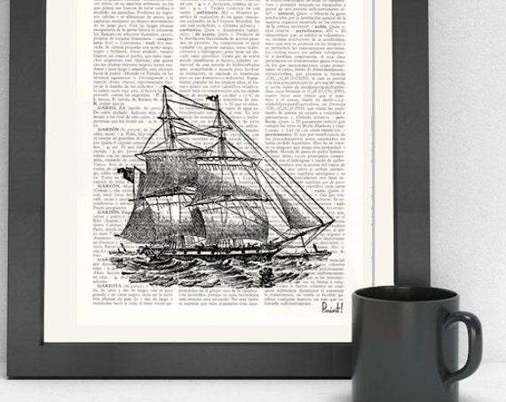 Art Print Vintage Ship Print  Dictionary art, wall art nautical print, Ship poster print, Wall art SEA013