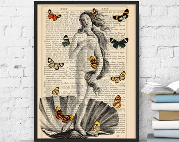 Christmas gifts for mom Venus and Butterflies collage print butterflies Butterflies and Venus poster Print Wall art bathroom BFL107