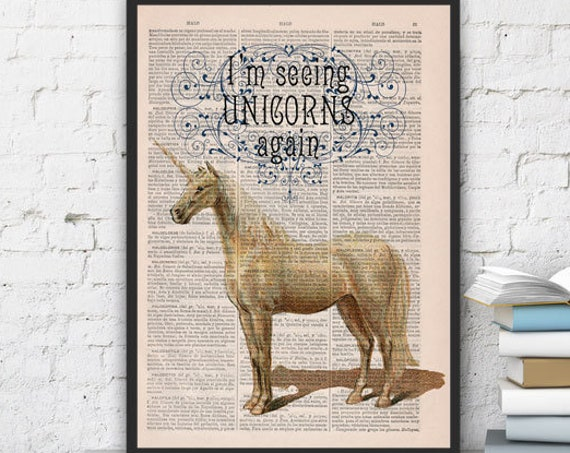 Fabulous Unicorn Printed on Vintage Book sheet perfect for gifts  ANI212b