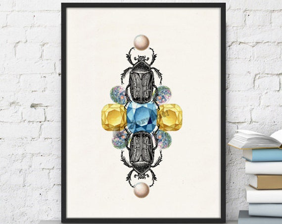 Beetles and jewelry stones together wall poster ANI235WA4