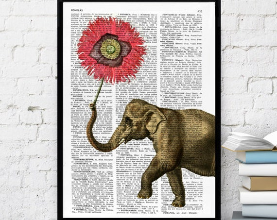 Elephant with Poppy Flower Nursery Art the best choice for gifts  ANI103