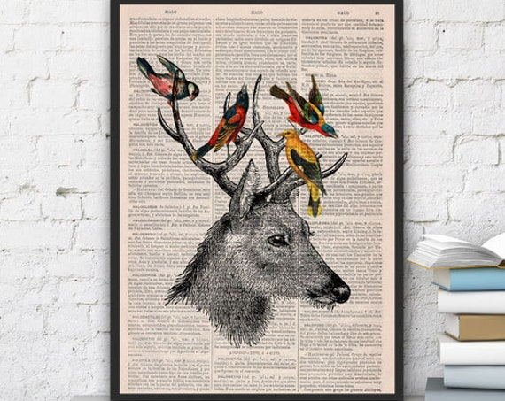 Deer playing with birds friends print on Upcycled Book page great for gifts  ANI040b
