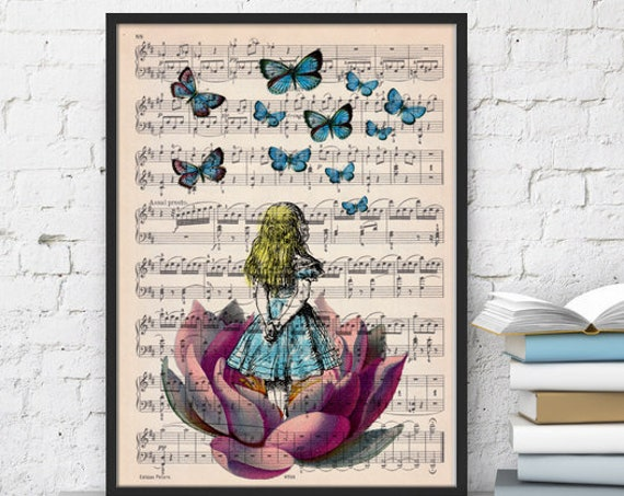 Alice in wonderland looking for blue butterfly over a music sheet Nursery Wall decor, art print ALW013MSL