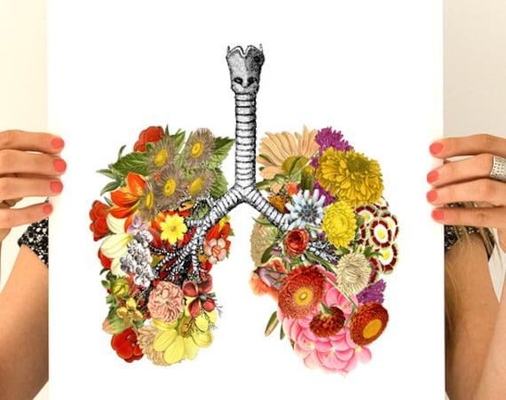 Flowery Lungs, anatomy art, wall art, wall decor, poster,  anatomy medical student gift no smoking art  SKA062WA3