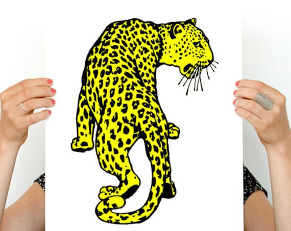 Yellow Leopard Wild Animal art print- Leopard print wall decor, Home and living yellow decor print ANI234WA4