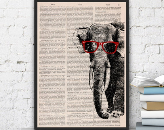 Geek Elephant  with glasses, Wall art, Wall decor,   Vintage Book sheet, Nursery wall art, Prints,  ANI096