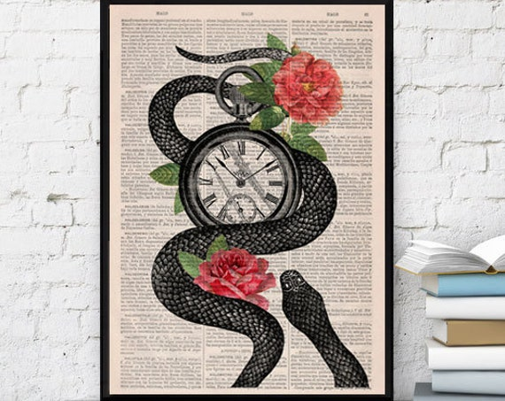 Christmas gifts for mom Book print Upcycled art dictionary book Snake Clock With Roses print on Vintage Dictionary Book art BFL113