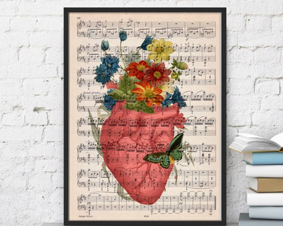 Pink human heart with flowers over music sheet the best choice for  SKA088MSLb
