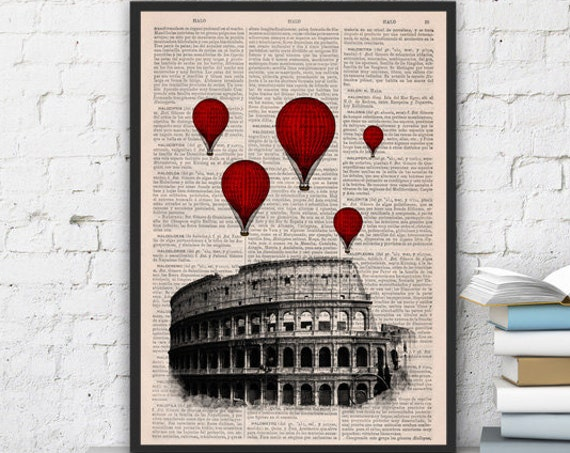 Rome Colosseum Balloon Ride Print on Vintage Book art,vintage book print  TVH039