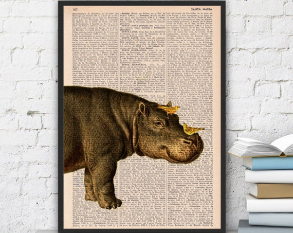 Cute Hippo and Yellow birds are best friend Wall decor printed on vintage book page perfect for gifts  ANI014b