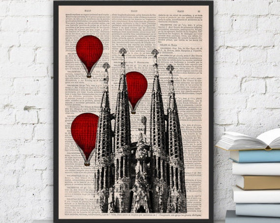 Barcelona Sagrada Familia with red balloons on vintage dictionary page perfect for gifts  TVH019b