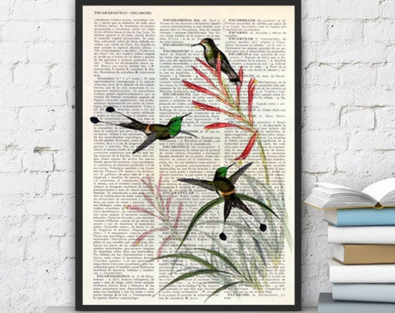 Gorgeous Hummingbirds are talking on flowers Print on Upcycled book page great for gifts  ANI117b