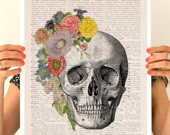 Flowers on skull detail, Anatomical art, Anatomy art, Wall art, Wall decor, Science art, Medical student gift, doctor wall art,  SKA138PA3