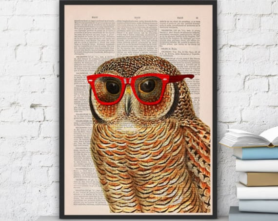 Cool Owl with sunglasses wall decor printed on vintage book page great for gifts  ANI035