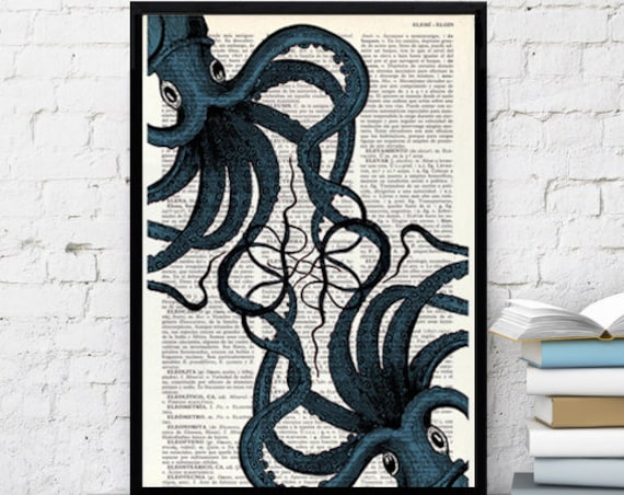 Crazy Octopus brothers meeting wall decor perfect choice for gifts  SEA062b