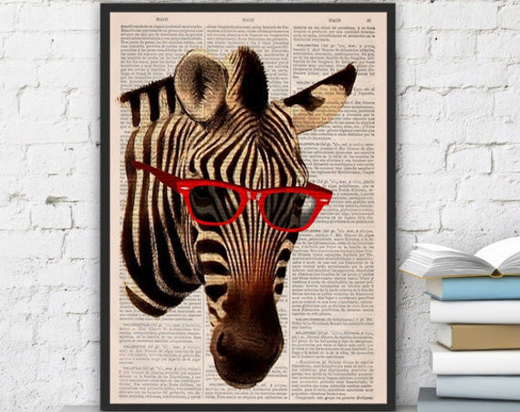 Cool Zebra with sunglasses vintage book print perfect for gifts  ANI005