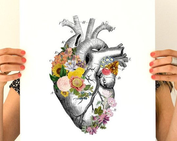 Floral White Heart , anatomical art, anatomy wall art, wall decor, Heart poster, heart anatomical poster, science student gift SKA231WA3