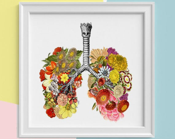 Christmas gifts Lungs with flowers Print, wall art Human anatomy print Science student gift Human lungs art print prints SKA062SQ1