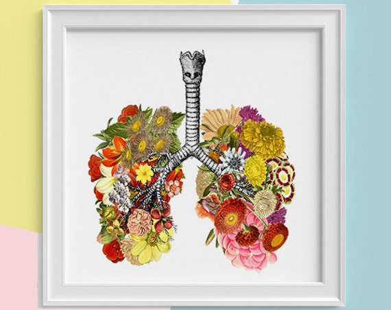 Lungs with flowers Print, wall art Human anatomy print Science student gift Human lungs art print prints SKA062SQ1