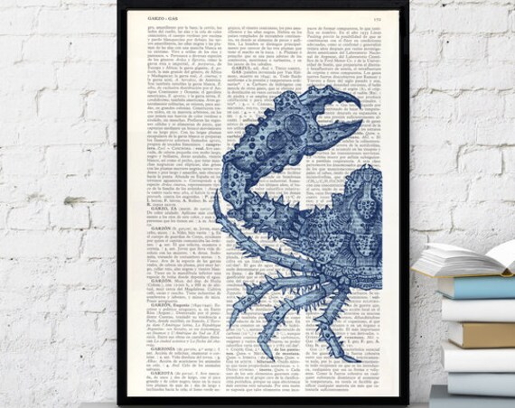 Christmas gifts Art print, Blue Crab Print on Vintage Dictionary beach house wall art, art print blue, Wall decor sea life, Seaside SEA023