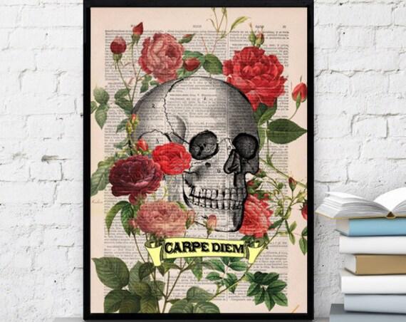 Decorative art, Roses Skull Tattoo CARPE DIEM quote, Skull Print. Skull &  roses gift him, boyfriend gift SKA075