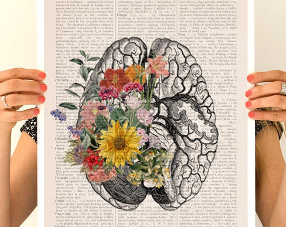 Springtime brain, anatomy art, anatomy  poster, brain art, brain, anatomy, poster,  medical art SKA140PA3