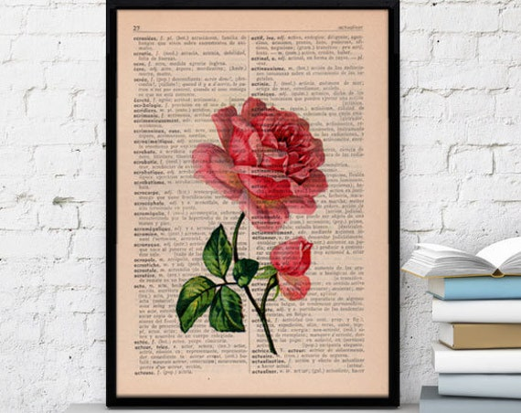 Vintage Book Print Dictionary or Encyclopedia Page Print- Book print Rose on Vintage Book art BFL045
