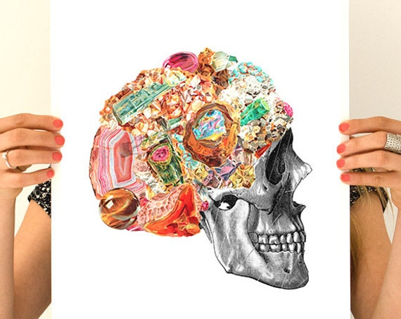 Human Skull with precious stones, Anatomical art, Anatomy art, Wall art, Wall decor, Skull art, Poster, Gift for doctor, Science  SKA119WA3