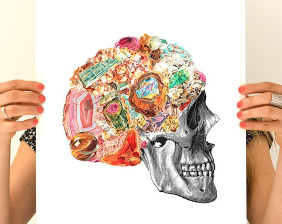 Human Skull with precious stones Wall art, Wall decor, Skull art, Poster, Gift for doctor,   SKA119WA3