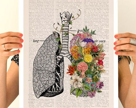 Springtime Breathe, anatomy art, wall art, wall decor, poster, anatomy, anatomy poster, science, medical student gift,stop smoking SKA139PA3