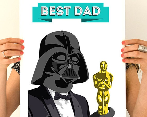 Best dad poster, Father gift, Wall Art, Wall decor, Star wars inspired Art, Wall Hanging star wars TVH241WA3