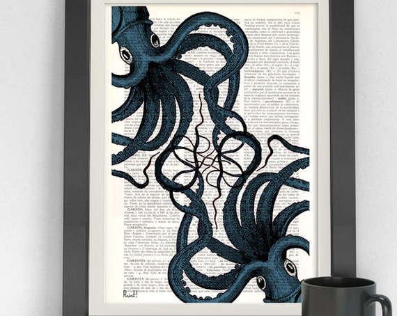 Octopus print Dictionary art print Octopus meeting art, Wall decor Octopus art, Ocean art print Sealife art SEA062