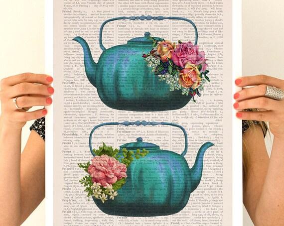 Vintage teapots poster, Tea time art, Kitchen art,Tea time, Tea party gift, Kitchen decor, Wall art, TVH238PA3