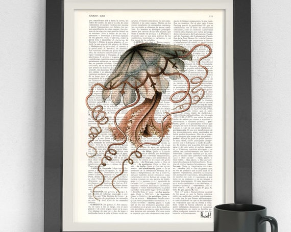 Pink Gray beautiful Jelly Fish Wall Art printed on Vintage Dictionary page perfect for gifts  SEA055