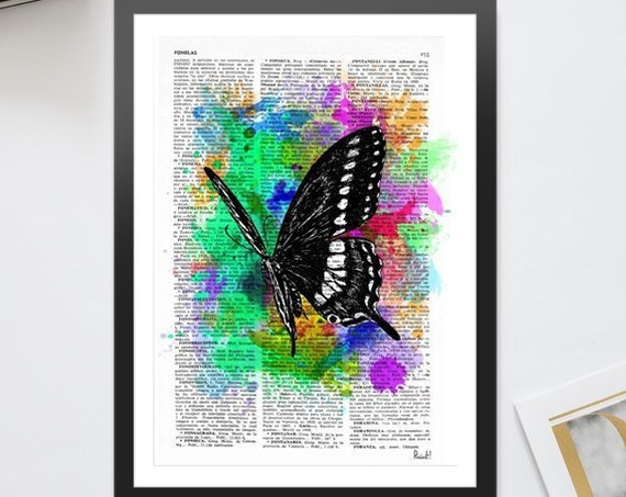 Watercolor collection Butterfly 04 Printed on Vintage Dictionary Book page. Wall decor, wall hanging BFL07