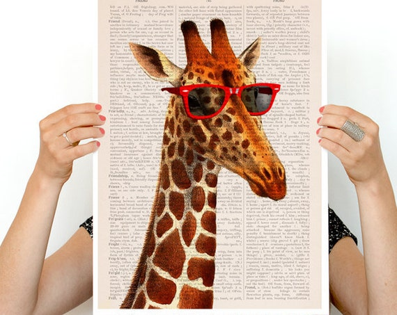Cool Giraffe poster, poster, Animal art, Animal decor, Wall art, Wall decor, Giclee poster, poster print, nursery art, giraffe, ANI008PA3