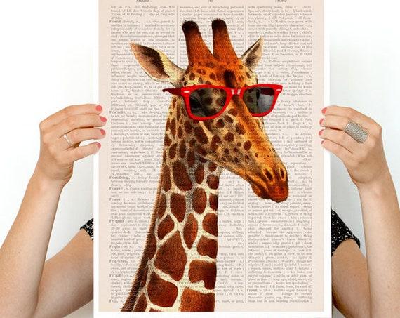 Cool Giraffe poster, poster, Animal art, Animal decor, Wall art, Wall decor,  poster, poster print ANI008PA3