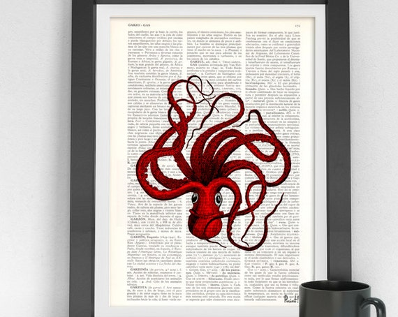 Cyber Monday sale Octopus art, Red Octopus Print on Vintage Book page, Wall art home decor, octopus print, giclee print, sealife art SEA045