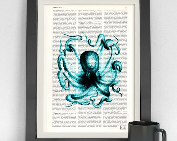 Art Print Turquoise Octopus I Dictionary art  Book Turquoise Octopus Print, Seaside wall art, SEA057