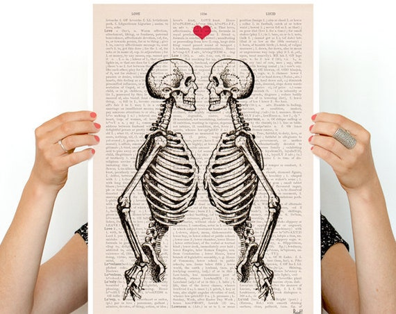 Wall art Skeleton Couple,  Anatomy art, Wall art, Wall decor, Poster, Skelton art medical student gift,  SKA003PA3