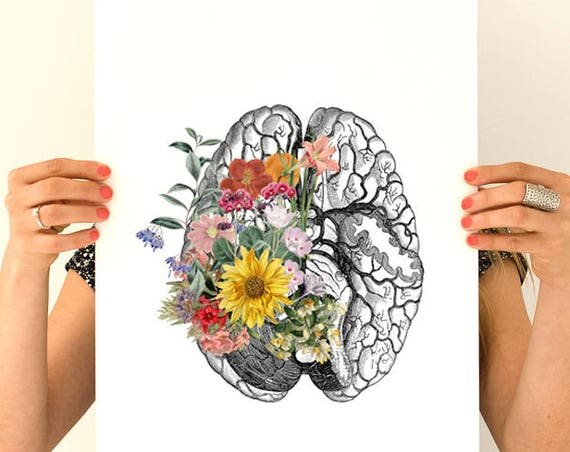 Springtime brain, anatomy art, anatomy Giclee poster, brain art, brain, anatomy, wall art, wal decor, poster, science, medical art SKA140WA3