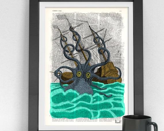 Colorful Giant Sea Monster Kraken Octopus Art Print on Vintage  Dictionary page, art nursery Poster SEA078