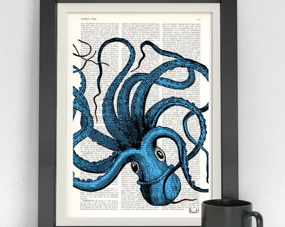 Turquoise Blue Octopus Print the best choice for gifts  SEA061b